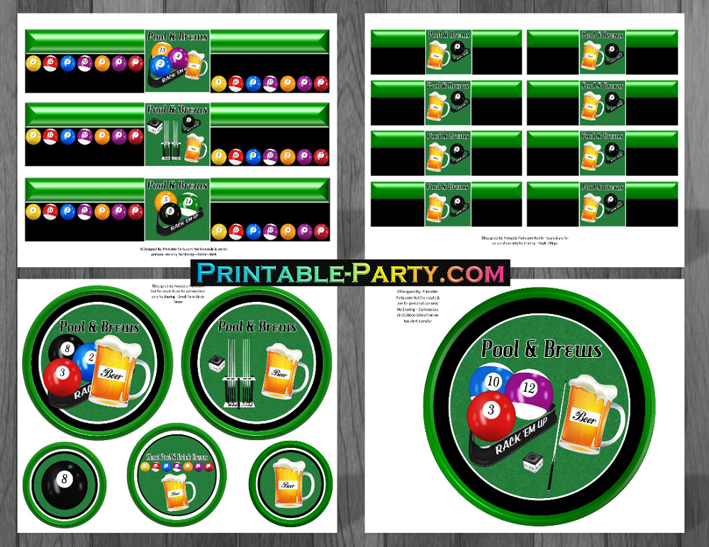 Printable Billiards Party Supplies Billiards Birthday Theme
