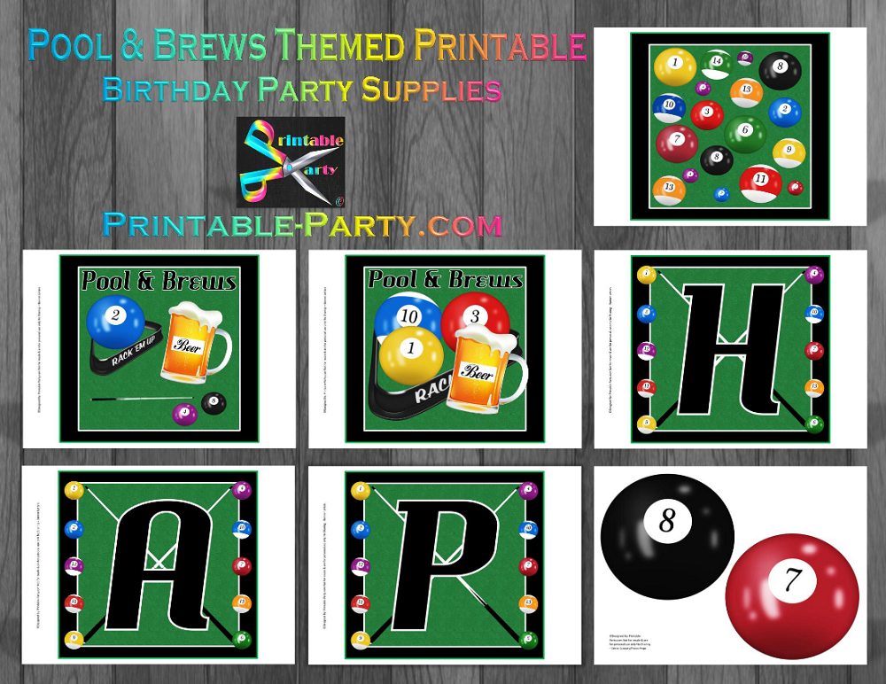 Printable Billiards Room Party Supplies Pool Table Theme Birthday Amazing Pool Ball Decorations