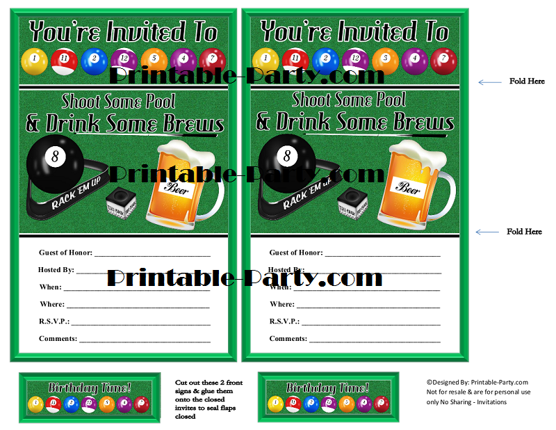 Printable billiards party supplies billiards birthday for Decoration table pour invites
