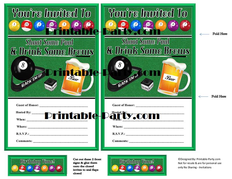 billiards birthday party invitations