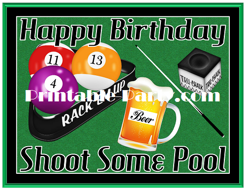 Printable Billiards Party Supplies Billiards Birthday