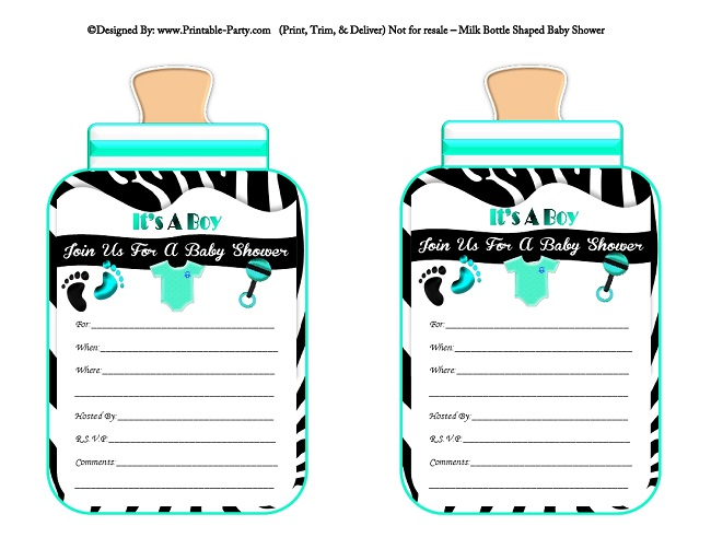 Boy printable bottle baby shower invitations babies milk bottle aqua black zebra filmwisefo