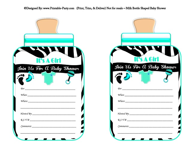 Girls Printable Bottle Shaped Baby Shower Invites