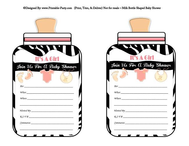 Girl printable bottle baby shower invitations milk bottle shaped light pink black zebra filmwisefo
