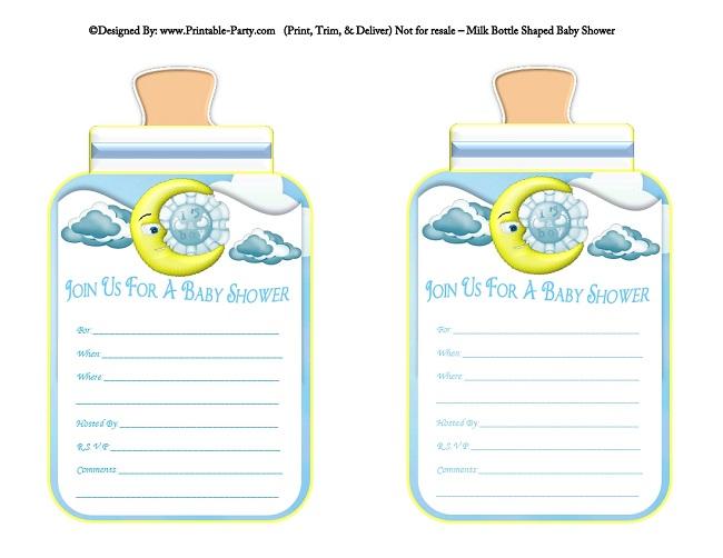 boy printable bottle baby shower invitations | babies milk bottle, Birthday invitations