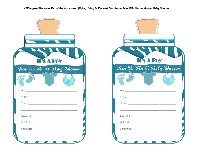 Boy Printable Bottle Baby Shower Invitations Babies Milk Bottle