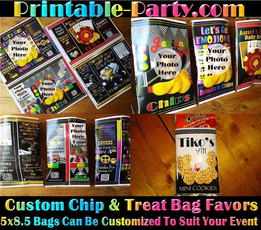 photo relating to All That and a Bag of Chips Printable titled Printable Customized Get together Choose Baggage Custom made Chip Luggage
