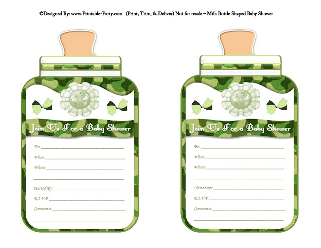 Boy Printable Bottle Baby Shower Invitations Babies Milk