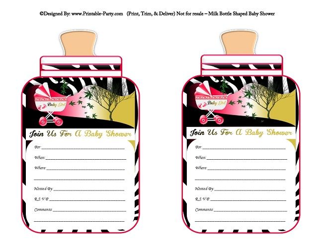 Girl printable bottle baby shower invitations milk bottle shaped pink sunset black zebra filmwisefo