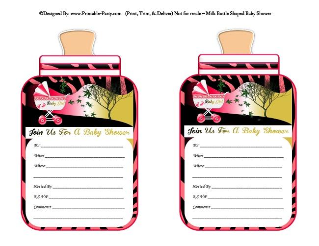 girl printable bottle baby shower invitations