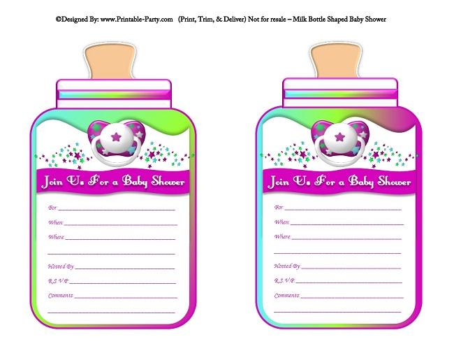 Girl Printable Bottle Baby Shower Invitations | Milk ...
