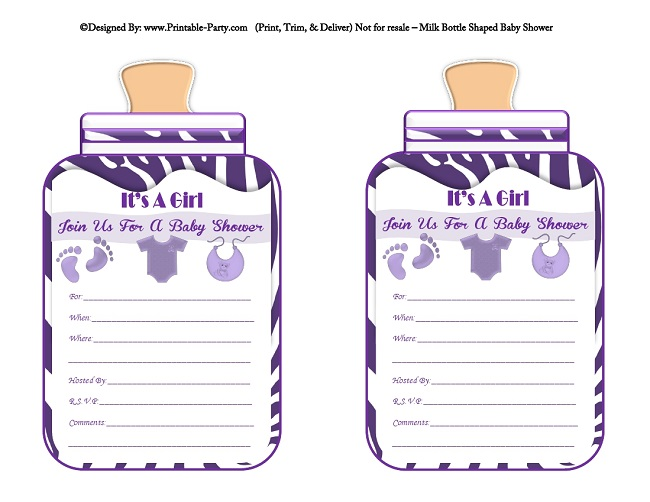 girl printable bottle baby shower invitations  milk bottle shaped, Baby shower invitation
