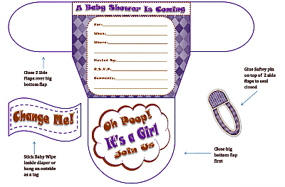 Girls Diaper Baby Shower Invitations | Diaper Printable Baby ...