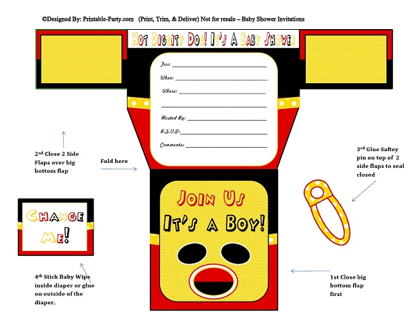 Printable Boy Diaper Invitations | Diaper Shaped Baby ...