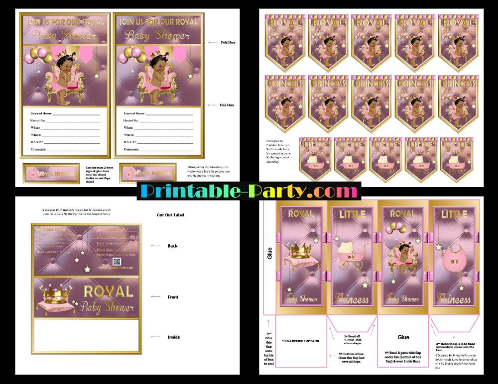Printable Royal Princess Baby Shower Supplies Pink Gold African