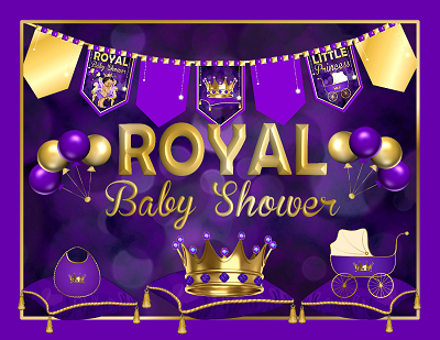 Royal Princess Baby Shower Decorations Purple Ethnic African Baby