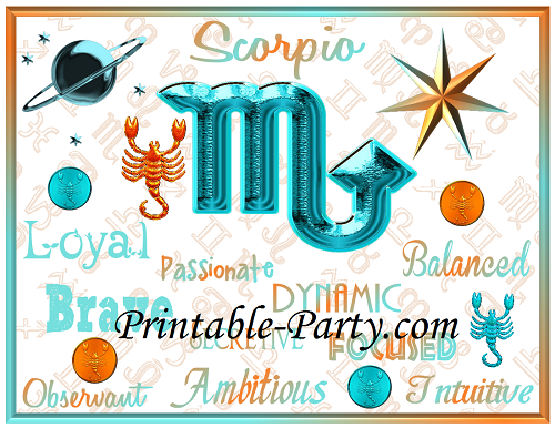 Scorpio Zodiac Printable Birthday Party Supplies