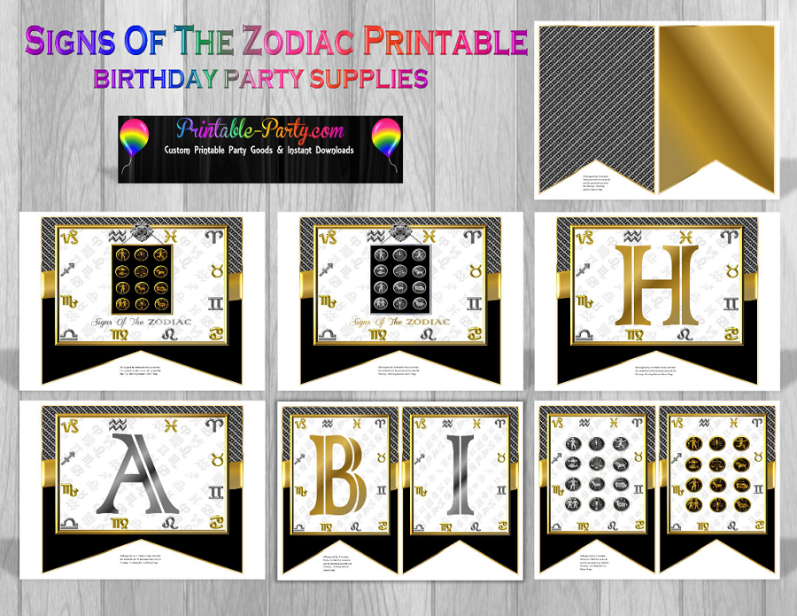 printable zodiac sign party decorations