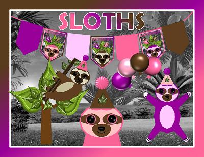 Printable Sloth Girl Party Supplies Sloth Theme Birthday