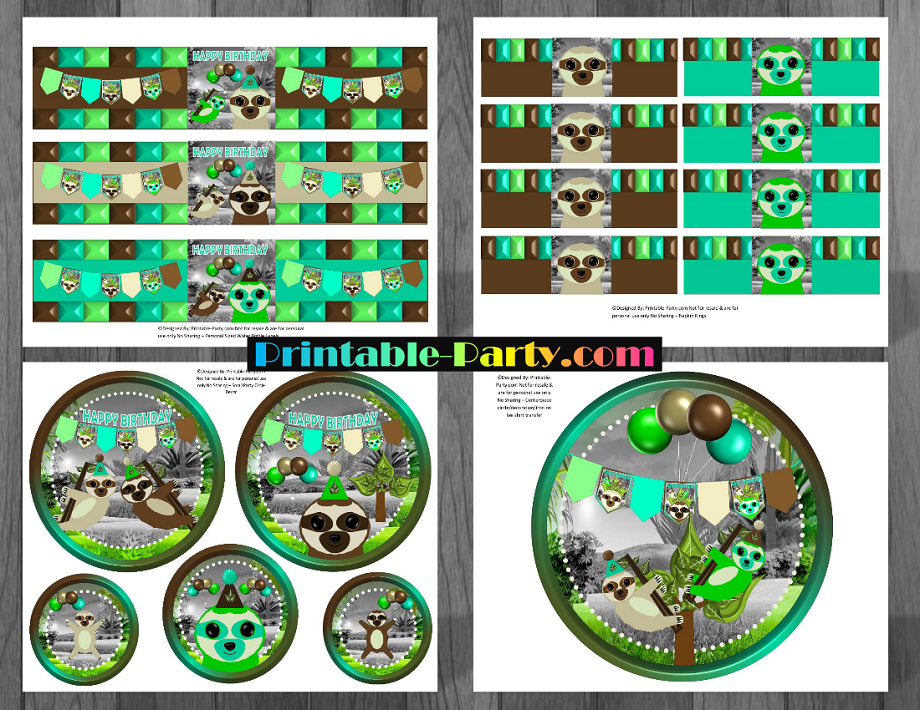 Printable Sloth Party Supplies Sloth Birthday Decorations