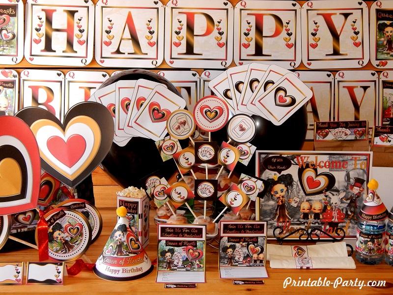Queen Of Hearts Printable Party Supplies Wonderlands The Red Queen
