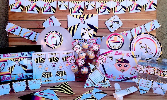 Pink Zebra Diaper Girls Baby Shower Decorations | Printable Baby Shower Supplies